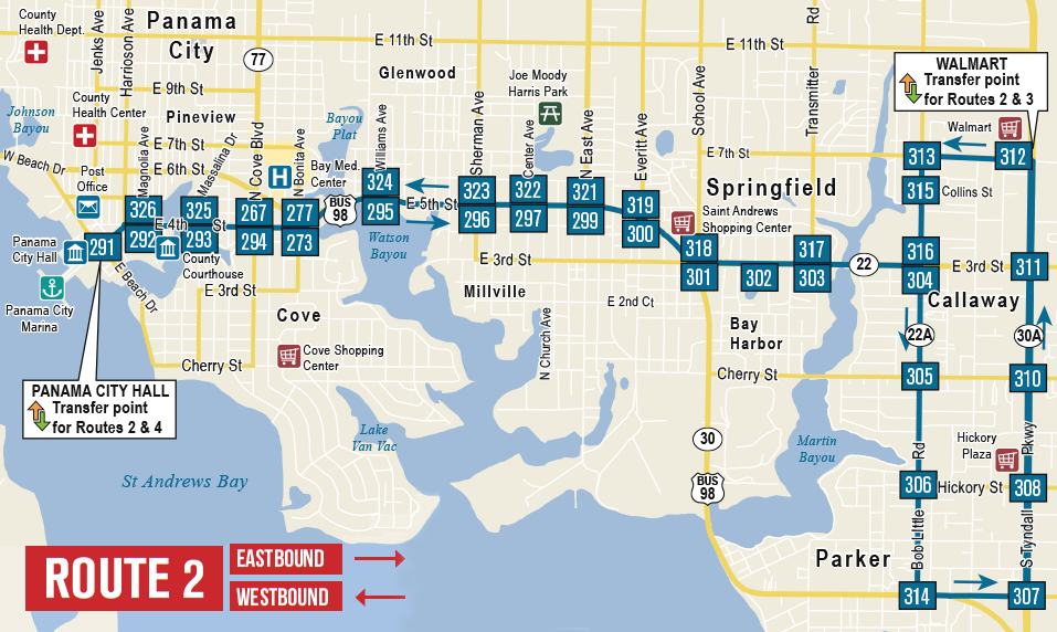 Bay Town Trolley Route 2 Map