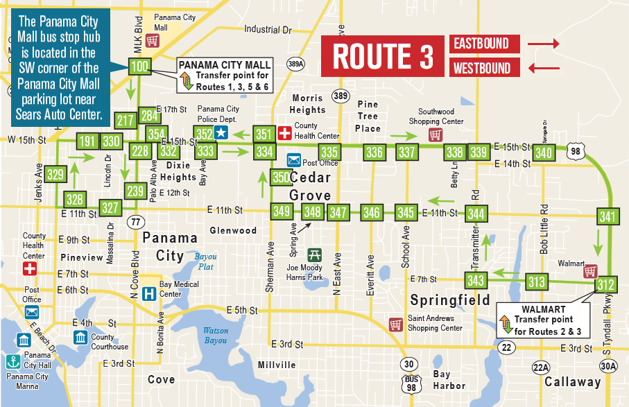 Bay Town Trolley Route 3 Map