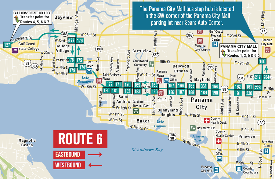Route 6 | Panama City Mall/Gulf Coast State College